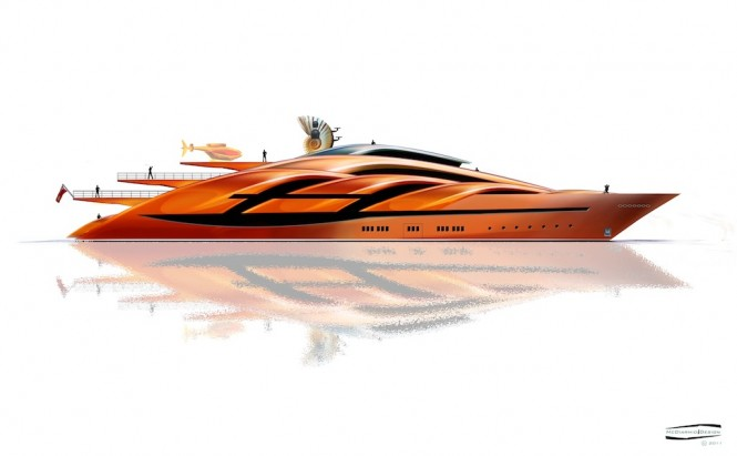 McDiarmid Design - 90m side profile Superyacht Conch - classic bow