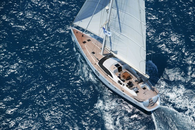 Oyster 725 yacht - view from above