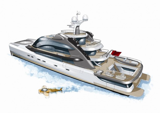 Project Oxygen superyacht - aft view