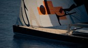 Sailing yacht Aglaia with sail art by Magne Furuholmen - Photo by Christopher Scholey.