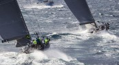 Sailing yacht Stark Raving Mad chases Bronenosec yacht - Photo by Rolex Carlo Borlenghi