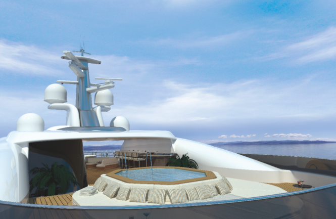 Superyacht AMELS 272 concept -Exterior model SUNDECK  FORE - Image courtesy of Amels