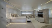 60m CRN motor yacht DARLINGS DANAMA has an exclusive noise cancelling system in the Master Suite.