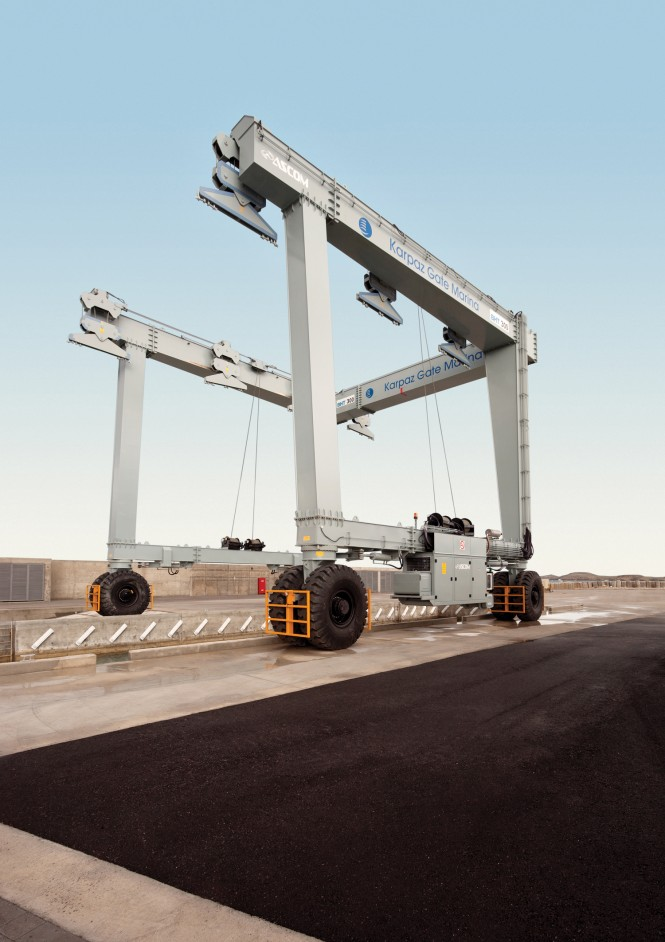 The 300 ton travel lift at Karpaz Gate Marina