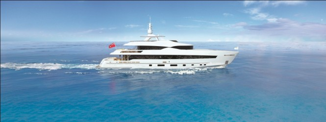 The Heesen 42m FDHF yacht equipped with Hull Vane®.