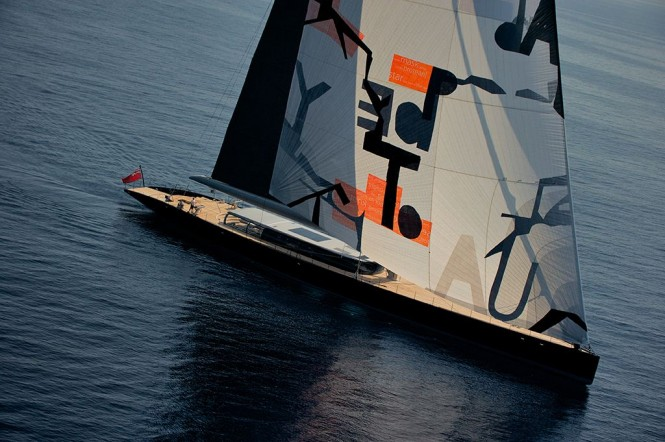 Vitters Sailing yacht Aglaia with sail art by Magne Furuholmen - Photo by Christopher Scholey