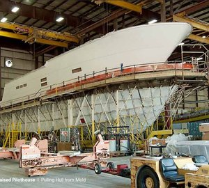 Work continues on the Hatteras 100 Raised Pilothouse motor yacht