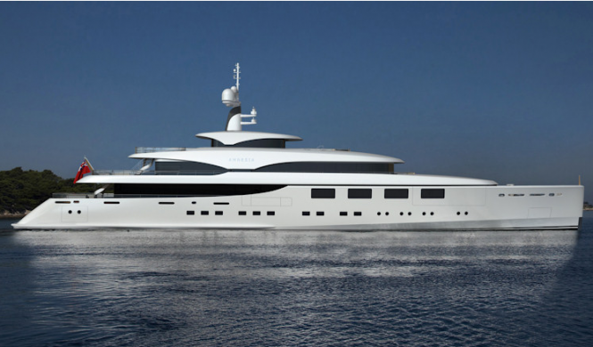 The newest 63m Benetti motor yacht Hull FB265 boasts a straight bow like the 65m megayacht Nataly (ex Amnesia IV)