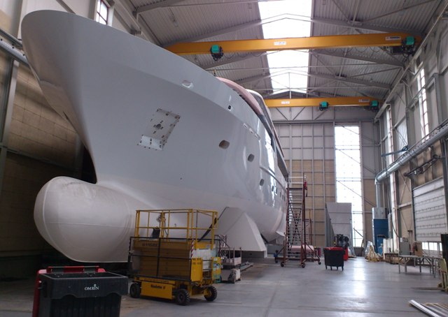 44m luxury motor yacht BN 141 in build at Bloemsma van Breemen