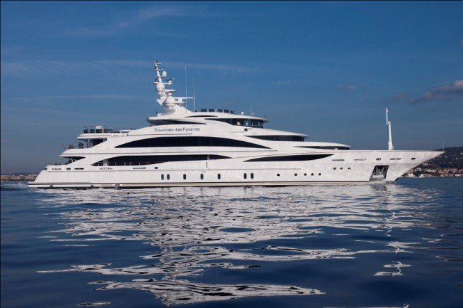 The superstructure and cascading aft decks of Hull FB265 superyacht resemble the 61m megayacht Diamonds are Forever pictured above