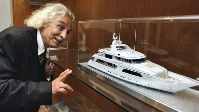 A closer look at a Feadship yacht model by Albert Einstein