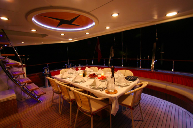 Al fresco dining aboard sailing yacht Serenity 86 - Turkish Gullet