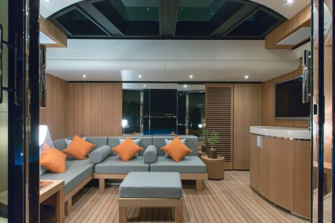 Beach deck interior - yacht PAPI DU PAPI - Photo Credits @ Marc Paris