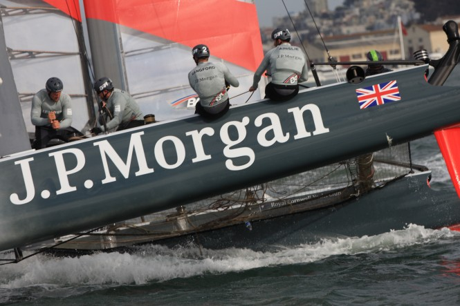 Ben Ainslie's J.P.Morgan team competing on Day 3