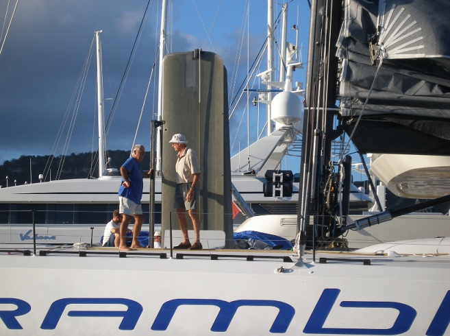 CSA Measurers Tony Maidment and Sandy Mair measuring Rambler in readiness for the 2012 RORC Caribbean 600 Photo by Kathy Lammers
