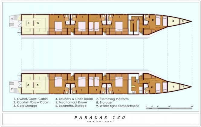 Catamaran yacht Paracas 120 - Layout