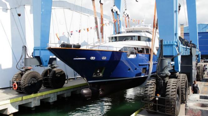 Fifth Delfino 93 superyacht Hull BD005 at launch