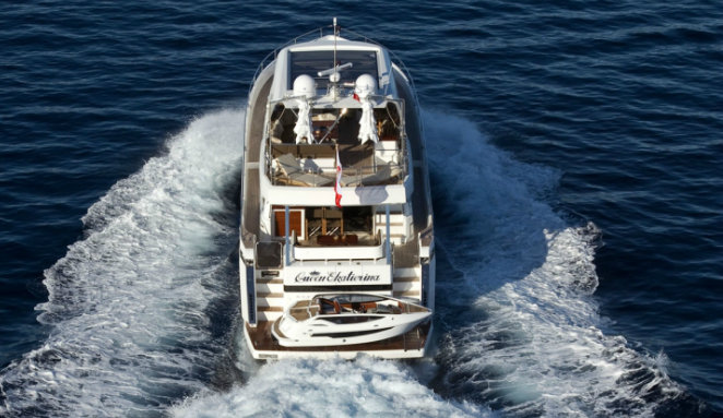 Galeon 780 Crystal yacht Queen Ekatierina with Baby Crystal yacht tender