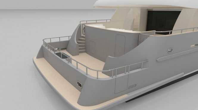Horizon EP115 superyacht - rear view
