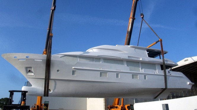 Hull BK001 superyacht - side view