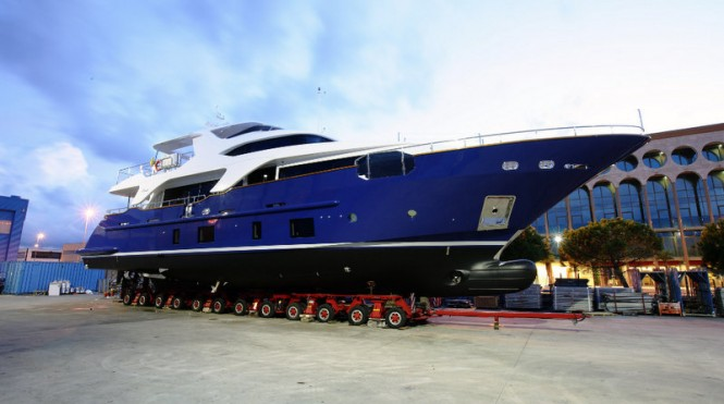 Launch of the fifth Delfino 93 motor yacht Hull BD005 by Benetti