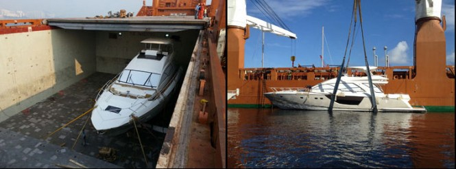 Loading of the Alpha 76' Flybridge Express yacht at Hong Kong and her offloading at Palm Beach