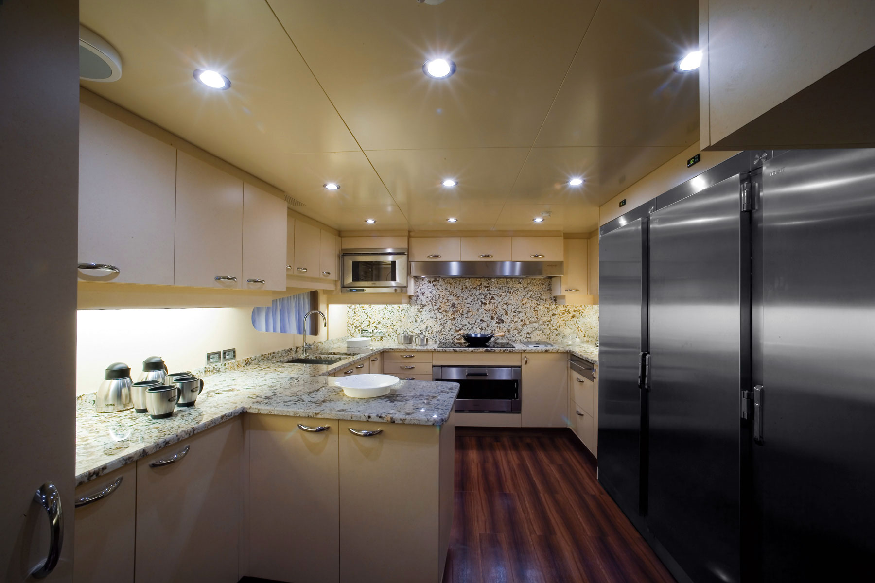 Luxury charter yacht princess iolanthe galley image courtesy of mondo marine yacht charter Ship galley kitchen design