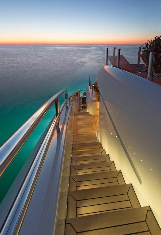 Luxury motor yacht Papi du Papi - Side Stairs - Photo Credits @ Marc Paris