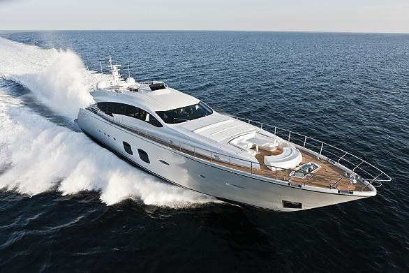 Luxury motor yacht Pershing 108 on display at the 2012 FLIBS