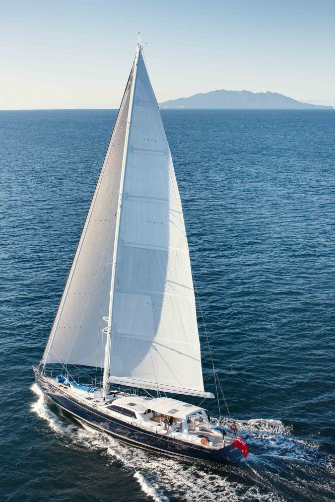 Luxury yacht Antares III under sail