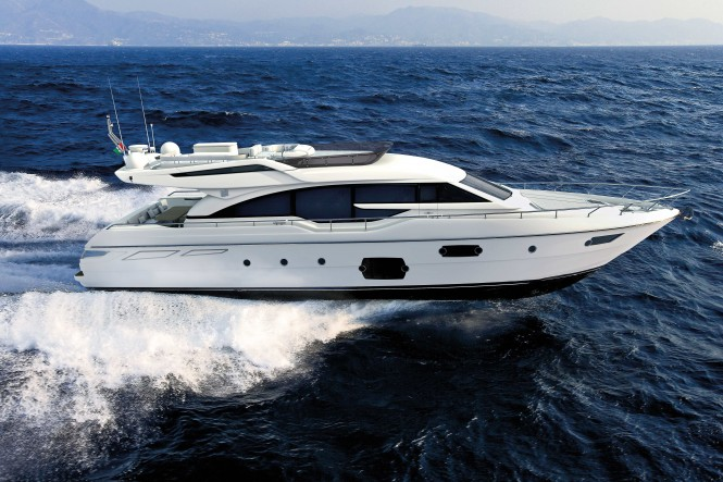 Luxury yacht Ferretti 690 on display in Genoa Photo credit Ferretti Yachts