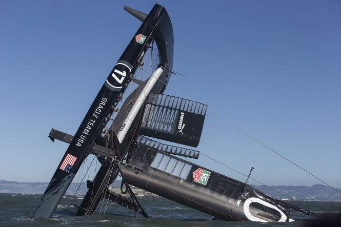 ORACLE TEAM USA yacht AC72 capsized on San Francisco Bay