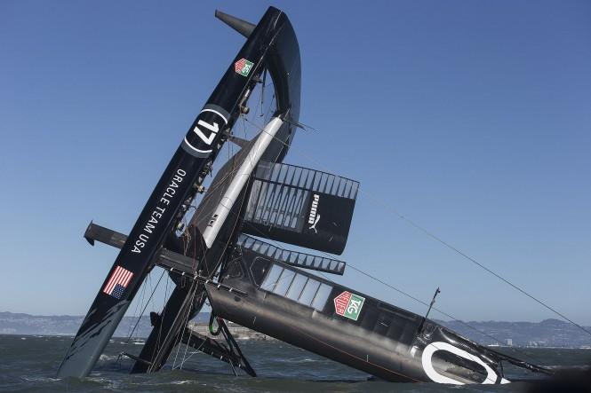 ORACLE TEAM USA yacht AC72 capsized on San Francisco Bay