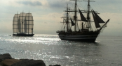 Perini Navi charter yacht Maltese Falcon and the historical tall ship Amerigo Vespucci