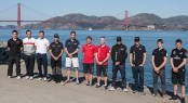 02/10/2012, San Francisco (USA,CA), 34th America's Cup, America's Cup World Series  San Francisco 2012 october - The skippers (l.to r.): Phil Robertson (China Team), Iker Martinez (Luna Rossa Swordfish), Chris Draper (Luna Rossa Piranha), Loick Peyron (Energy Team),  Ben Ainslie (J.P.Morgan BAR),  Nathan Outteridge (Artemis Racing), Terry Hutchinson (Artemis white), Russell Coutts (ORACLE Team USA 5), James Spithill (ORACLE Team USA 4), Peter Burling (Team Korea), Dean Barker (Emirates Team New Zealand)  (C) ACEA 2012: Photo Gilles Martin-Raget