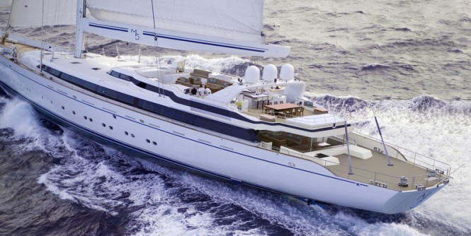 Post refit render of sailing yacht m5 (ex Mirabella V) - Aft shot