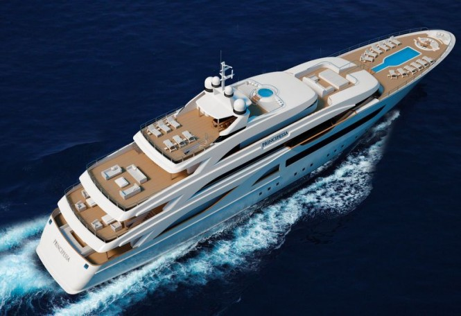 Principessa 72 yacht project - view from above