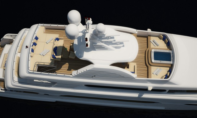 Rendering of the new 45m motor yacht Sunset (hull 182) by Sunrise Yachts