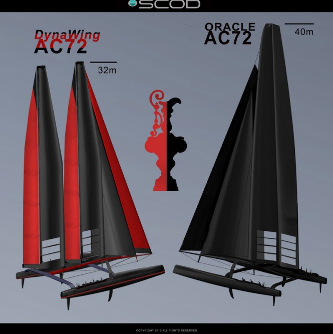 Sailing yacht DynaWing AC72 and ORACLE AC72 yacht