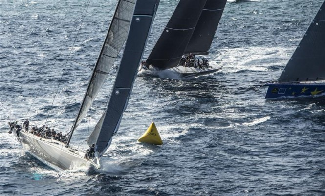 Sailing yacht Ran 2, superyacht Esimit Europa 2 and Stig yacht rounding the mark at the start of the 33rd Rolex Malta Sea Race - Photo by Rolex Kurt Arrigo
