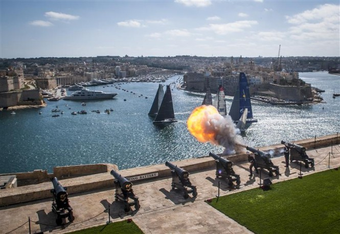 Start of the 33rd Rolex Middle Sea Race from Saluting Battery - Photo by Rolex Kurt Arrigo