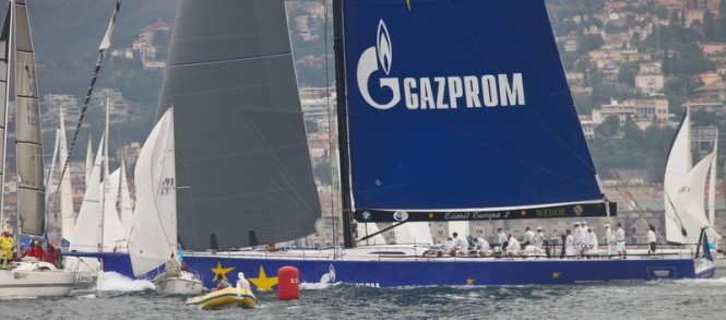The spectacular 100-foot superyacht Esimit Europa 2 at the 2012 Bernetti Lombardini Cup