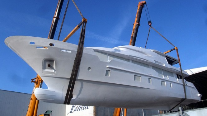 Tradition Supreme 108' yacht Hull BK001 with a carbon fiber hard top and roll bar