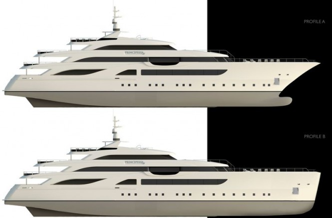 Two profiles of the Principessa 72 yacht project