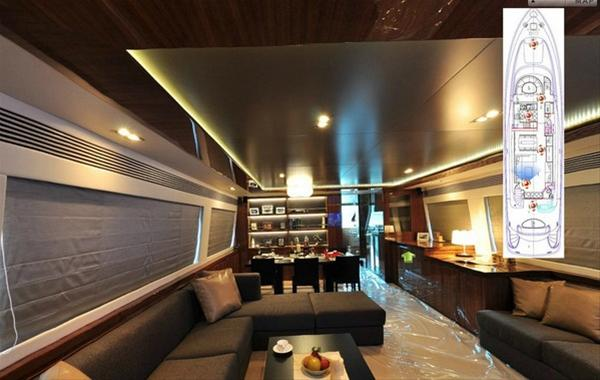 Virtual tour for the E88 motor yacht Arabella II