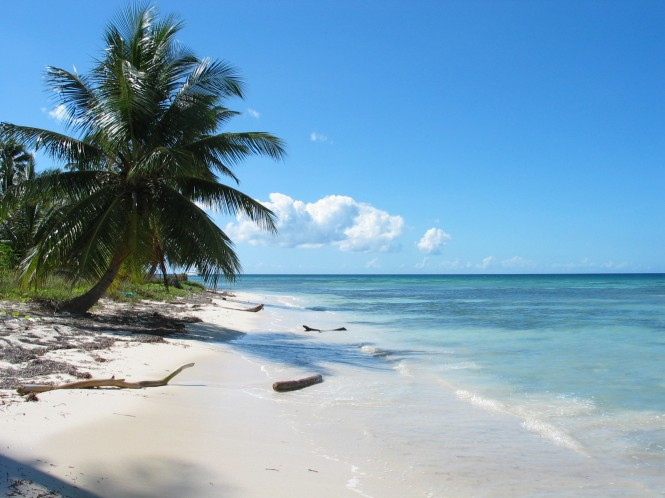 White sandy beaches in the Caribbean