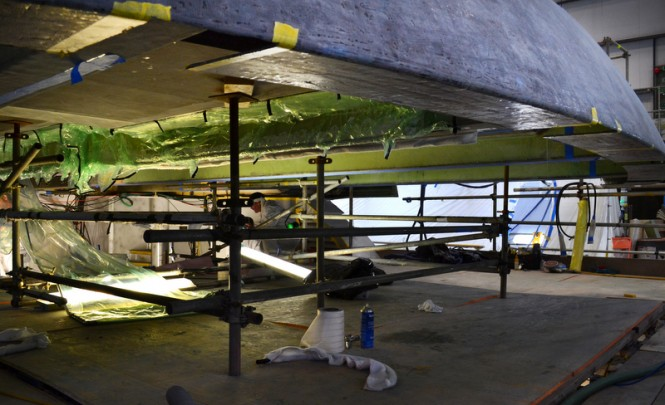 Works on the luxury sailing yacht m5