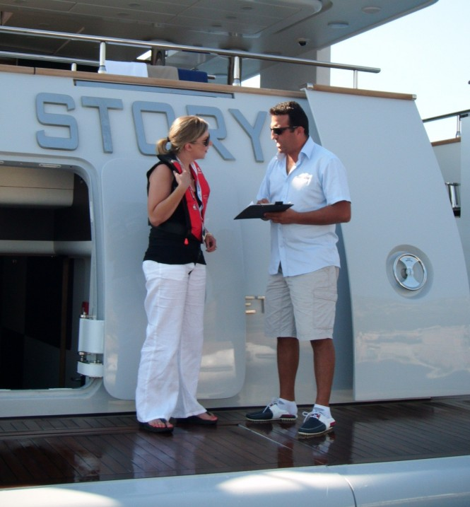 Yachting Pages talking to the crew on Deep Story superyacht