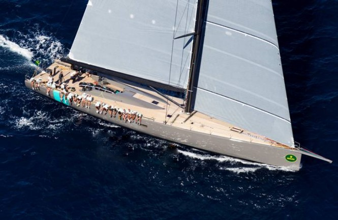 100ft WallyCento superyacht Hamilton competing in Porto Cervo - Photo credit YCO
