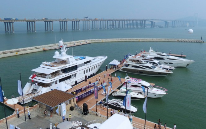 45m Feadship motor yacht Helix anchored in the city of Nansha